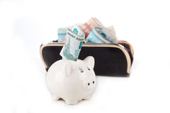 Piggy bank with money and wallet Royalty Free Stock Photography
