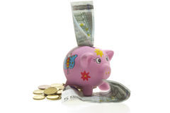 Piggy bank and money on white. Piggy bank and money on a white background Stock Photo