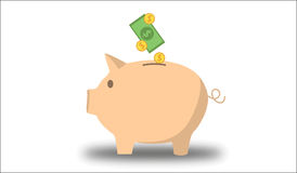 Piggy bank with money. Piggy bank on white background with money vector illustration