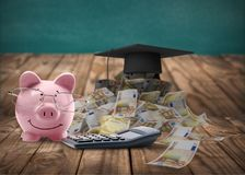 Piggy bank with money on wooden background. Stethoscope bank piggy piggy bank white background money royalty free stock images