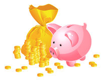 Piggy bank and moneybag Stock Photography