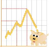 Piggy bank moneybox with business financial graph Stock Photo