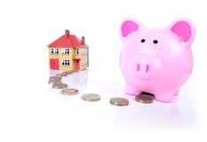 Piggy bank mortgauge Royalty Free Stock Image