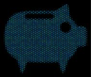 Piggy Bank Mosaic Icon of Halftone Bubbles. Halftone Piggy bank composition icon of empty circles in blue color tints on a black background. Vector empty circles Stock Images