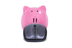 Piggy Bank with Mouse Stock Image