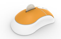 Piggy Bank, Mouse edition. Orange and white mouse with coin slot Stock Photography