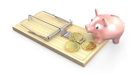 Piggy bank and mouse trap Royalty Free Stock Photography