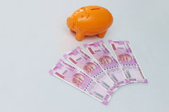 Piggy bank with new 2000 rupee notes on white background. Royalty Free Stock Images