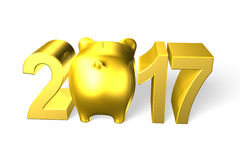 Piggy bank with 2017 new year concept, 3D illustration. Royalty Free Stock Image