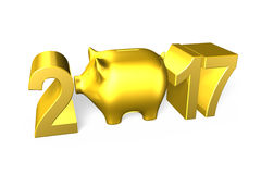 Piggy bank with 2017 new year concept, 3D illustration. Stock Images