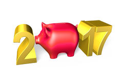 Piggy bank with 2017 new year concept, 3D illustration. Red piggy bank with 2017 new year concept, isolated on white, 3D illustration royalty free illustration