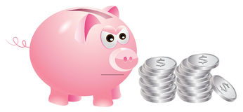 Piggy bank that is not very happy with silver coins Royalty Free Stock Photos