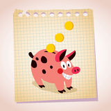 Piggy bank note paper cartoon illustration Royalty Free Stock Images