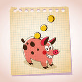 Piggy bank note paper cartoon illustration Stock Photography