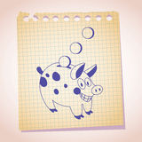 Piggy bank note paper cartoon sketch Royalty Free Stock Photo