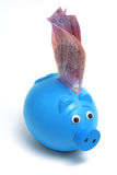 Piggy Bank and Notes. On White Background Royalty Free Stock Photos