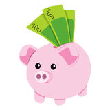 Piggy Bank and Notes Royalty Free Stock Photography