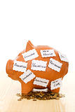 Piggy bank with notes - saving concept stock images