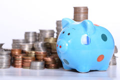 Piggy bank officer Royalty Free Stock Images
