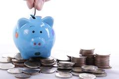 Piggy bank officer put money inside for invest Stock Photos