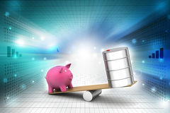 Piggy bank and oil can balancing Royalty Free Stock Photography