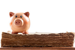Piggy bank on an old book Stock Image