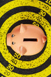 Piggy Bank on Old Target Board Royalty Free Stock Photos