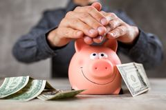 Piggy Bank On Grey Background Royalty Free Stock Photography