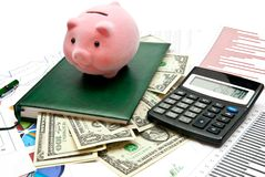 Piggy Bank On Office Table Royalty Free Stock Images