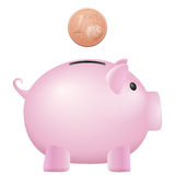 Piggy bank one euro cent. On a white background Stock Photos