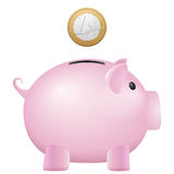 Piggy bank one euro Royalty Free Stock Photography