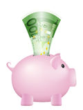Piggy bank one hundred euro banknote. Piggy bank with one hundred euro banknote on a white background Stock Photography