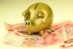 Piggy bank and one-hundred rmb Stock Photos