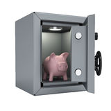 Piggy bank in an open metal safe Royalty Free Stock Images