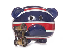 Piggy bank with opera glasses Royalty Free Stock Image
