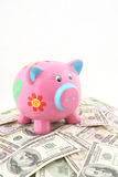 Piggy bank over stack of money. Piggy Bank shot over one hundred and fifty US dollars banknotes Stock Image