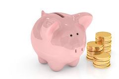 Piggy Bank over White Stock Photos