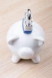 Piggy bank with padlock Stock Images