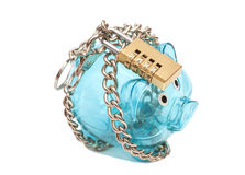 Piggy bank padlocked with chains and padlock Stock Photography
