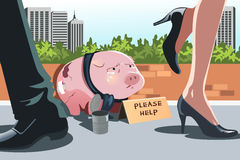 Piggy bank panhandling Stock Image