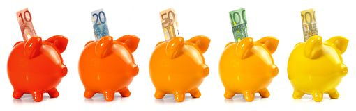 Piggy Bank Panorama with EURO Bankontes stock images