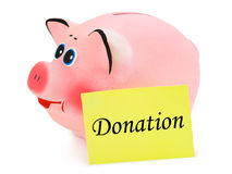 Piggy bank and paper Donation Stock Photo
