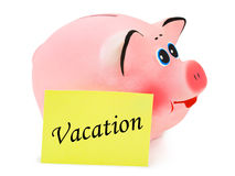 Piggy bank and paper Vacation Stock Images
