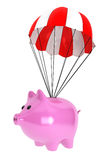 Piggy Bank with Parachute. On a white background Stock Images