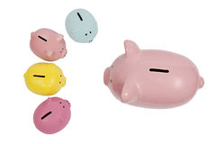 Piggy Bank Parent Talks to Kids Stock Photo