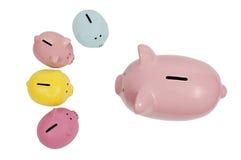 Piggy Bank Parent Talks to Kids. Piggy parent discusses finances with their children Stock Photo