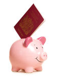 Piggy bank with passport. Cutout Royalty Free Stock Photos