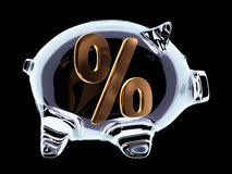 Piggy bank with percent sign inside on black Royalty Free Stock Image
