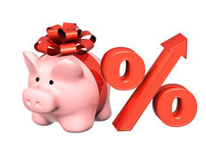 Piggy bank and percent symbol Royalty Free Stock Image