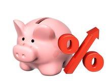 Piggy bank and percent symbol Stock Photo